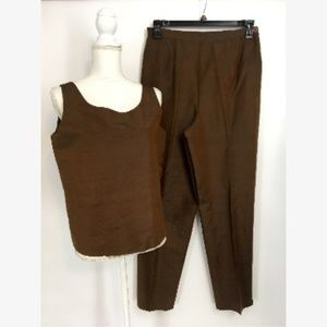 Vintage Brown Womens Career Pant Set